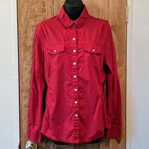 Converse One Star Red Button-Down Top, Large
